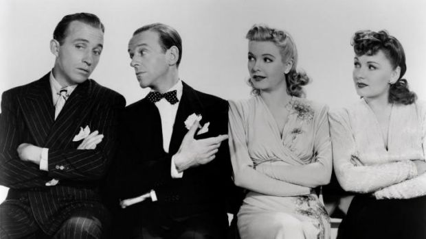 Holiday Inn, 1942, from left: Bing Crosby, Fred Astaire, Marjorie Reynolds and Virginia Dale.
