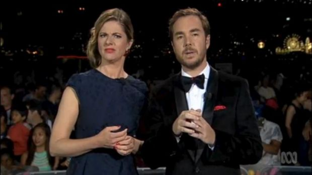 The end of a long, gruelling broadcast: ABC hosts Julia Zemiro and Toby Truslove.