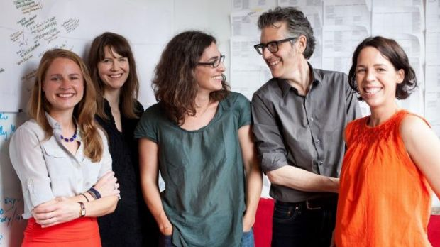 The team behind <i>??Serial</i>??: (from left) Dana Chivvis, Emily Condon, Sarah Koenig, Ira Glass and Julie Snyder