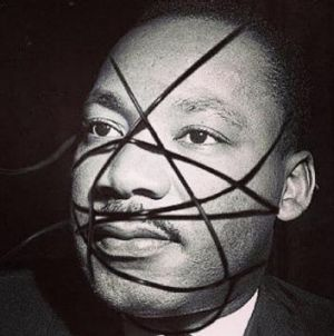 A controversial doctored image of Martin Luther King has been used by Madonna to promote her new album.