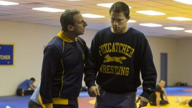 Depicted as true events: Steve Carell, left, and Channing Tatum in US Olympic wrestling story <i>Foxcatcher</i>.