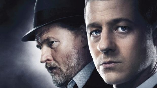 Donal Logue as Detective Harvey Bullock and Ben McKenzie as Detective James Gordon in <i>Gotham</i>.