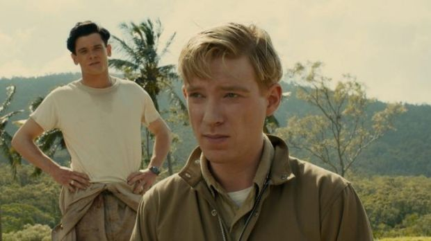 Harrowing tale: Phil (Domhnall Gleeson) and Louis Zamperini (Jack O'Connell) star in <i>Unbroken</i>.