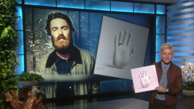 Fan girl: Ellen DeGeneres holds a copy of Chet Faker's album as she introduces a performance by the Melbourne ...