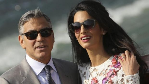 No longer the bachelor ... George and Amal Clooney.