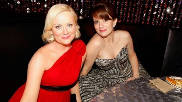 This year's hosts for the last time ... Tina Fey and Amy Poehler.
