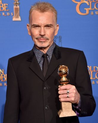 <i>Fargo</i> star Billy Bob Thornton with the award for best actor in a TV movie or miniseries.