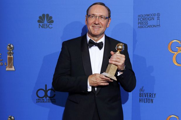 Kevin Spacey with his award for best actor in a TV series (drama) for <i>House of Cards</i>.