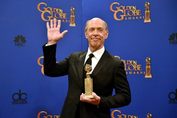 <i>Whiplash</i>'s J.K. Simmons with his award for best supporting actor in a motion picture.
