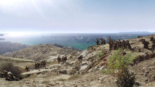 After digital effects: Anzac troops climb the heights of Gallipoli Peninsula.