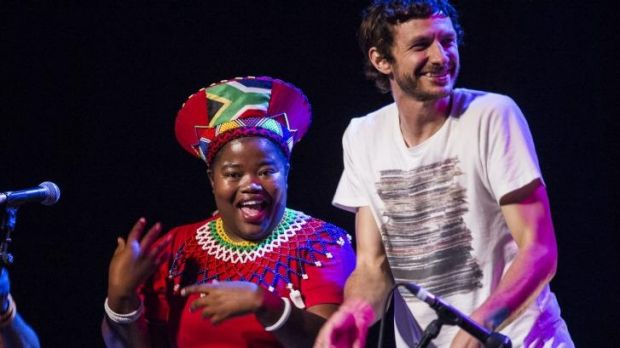Weekend's hardest working man: Gotye with one of the Mahotella Queens.