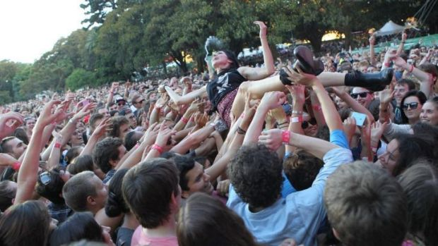 Adalita crowd surfs while performing with You Am I.