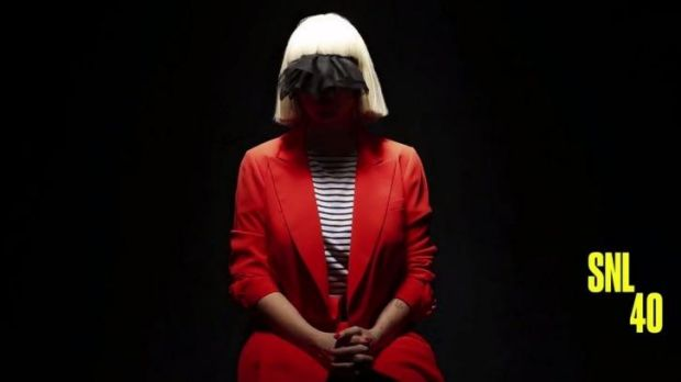 Sia Furler again covers her face for her <i>Saturday Night Live</i> performance.