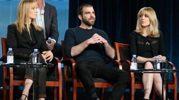 From left: Uma Thurman, Zachary Quinto and Melissa George during the panel discussion.