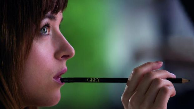 You're the boss: Dakota Johnson as the submissive Anastasia Steele in Fifty Shades of Grey.