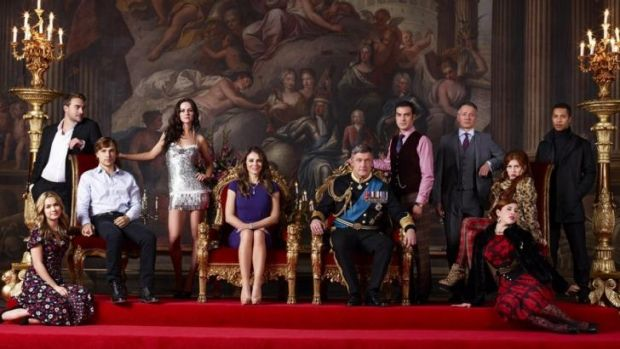 Meet the Royals ... Elizabeth Hurley stars as Queen Helena, centre, and Vincent Regan as King Simon in a show so bad it ...