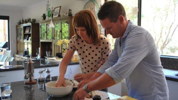Kat and Andre prepare their Aussie-inspired recipe.