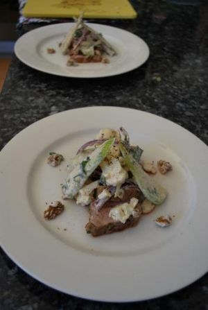 Plated up - Kat and Andre's Coriander Pork Fillet with Pear, Cauliflower and Walnut Salad.