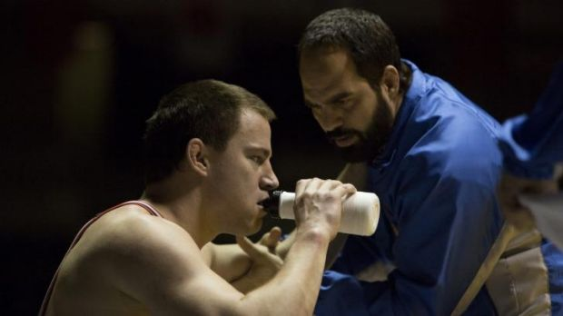 Channing Taum (left) and Mark Ruffalo are champion wrestlers and sibling rivals.