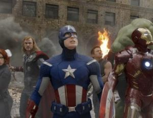 Marvelous: Chris Hemsworth (second from left) as Thor with the Avengers.