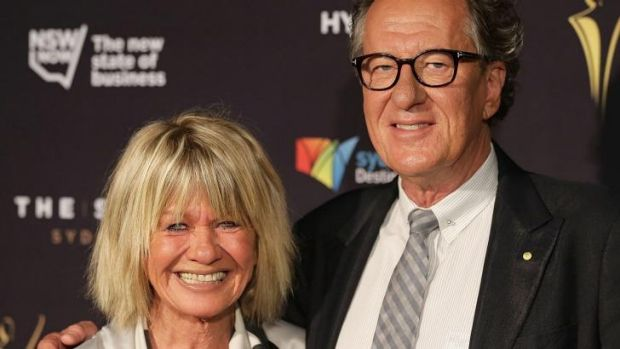 Margaret Pomeranz and Geoffrey Rush on the red carpet for the 2015 AACTA Awards.