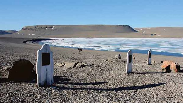 Beechey Island where three graves belonging to crew of Sir John Franklin's ill-fated expedition in 1845.