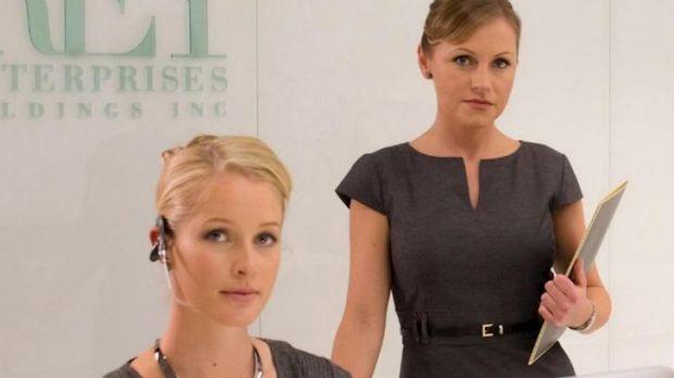 Emily Fonda (left) as secretary Martina in <i>Fifty Shades of Grey</i>.