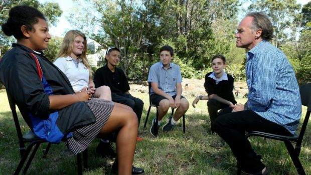 Writer Tony Birch leads a discussion with Footscray City College students in Melbourne as part of the Weather Stations ...