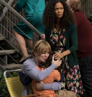 Melissa George, left, performs a scene with Dylan Schombing as Hugo and Thandie Newton as Aisha in the US version of ...