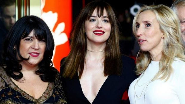 Grey's women: Author E. L. James, actress Dakota Johnson and director Sam Taylor-Johnson.