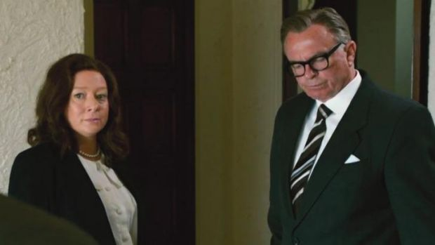 Mandy McElhinney as Gina Rinehart and Sam Neil as Mrs Rinehart's father Lang Hancock in part one of  Channel Nine's ...