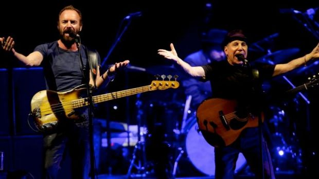 Double header: Longtime friends Paul Simon and Sting shared the stage together, blending their voices  and their bands.