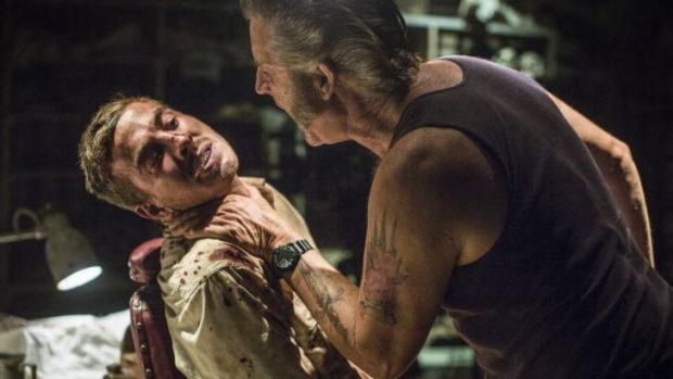 Ryan Corr and John Jarratt in a scene from <i>Wolf Creek 2</i>.