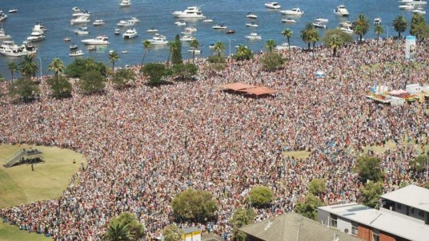 Crowds flocked to Langley Park, while others enjoyed the view from the Swan River.