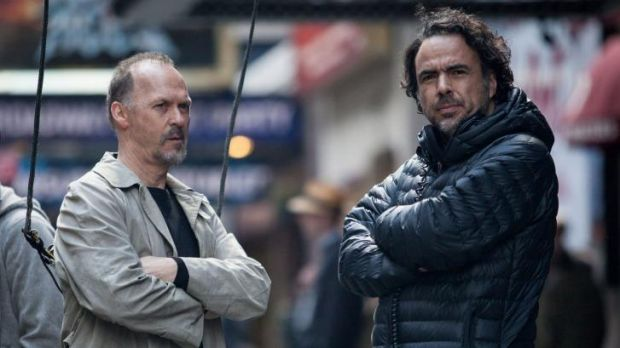 Michael Keaton and Alejandro Gonzalez Inarritu on the set of <i>Birdman</i>, the favourite for Best Picture.