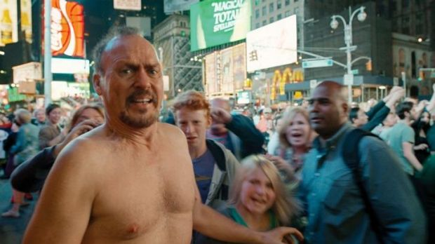 Michael Keaton bears all in <i>Birdman</i>.