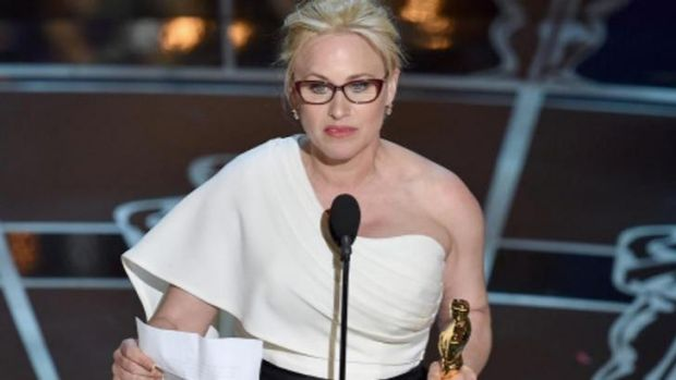 'It's our time': Patricia Arquette accepting her best supporting actress Oscar.