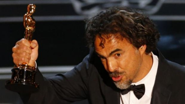 Director Alejandro Inarritu accepts the Oscar for Best Director for his film <i>Birdman</i> at the 87th Academy Awards.