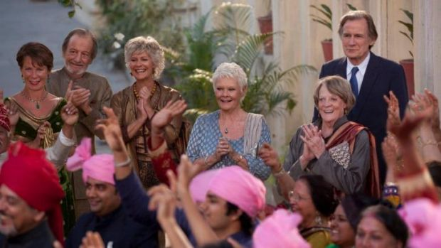 Celia Imrie, Ronald Pickup, Diana Hardcastle, Judi Dench, Maggie Smith and Bill Nighy in <i>The Second Best Exotic ...