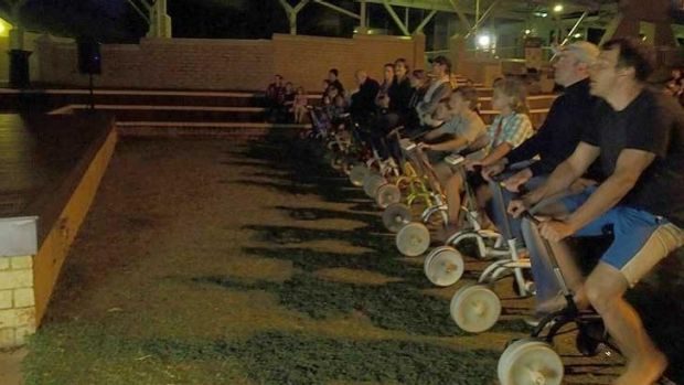 Movie-goers use pedal power.