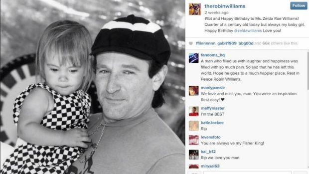 Photo from Robin Williams Instagram account, showing a photo of Robin with his daughter Zelda Williams, in early years.