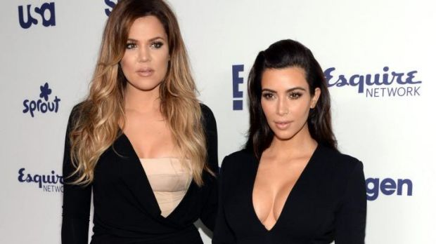 Khloe Kardashian, left, and Kim Kardashian arrive at NBC's Upfront last year.