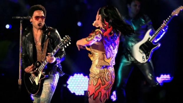 Lenny Kravitz performing with Katy Perry during the Pepsi Super Bowl XLIX Halftime Show this year.