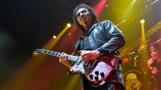 Tony Iommi on guitar with Black Sabbath at Rod Laver Arena Melbourne.
