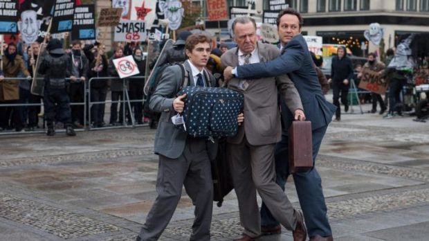 Dave Franco, Tom Wilkinson and Vince Vaughn in <i>Unfinished Business</i>.