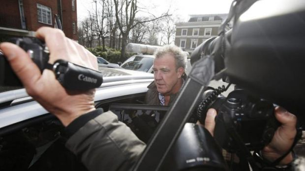 Polarising figure ... Television presenter Jeremy Clarkson is mobbed by the media as he leaves an address in London.