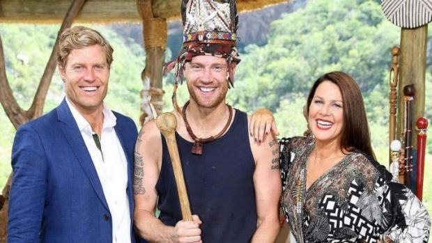 King Freddie: Flintoff with <i>I'm a Celebrity ... Get Me Out of Here!</i> hosts Dr Chris Brown and Julia Morris.