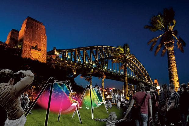 The Swing Glow will be at Hickson Road Reserve.