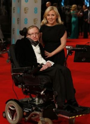 British scientist Stephen Hawking and his daughter Lucy at the BAFTAs in London in February.