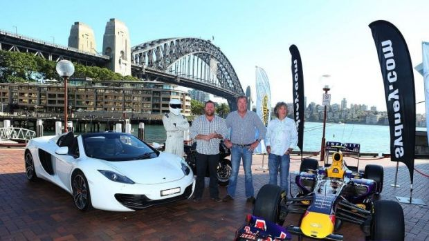 Jeremy Clarkson, centre, with the Top Gear team in Sydney in 2013.